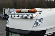 Roof Bar + Spot Lamp Lights For Daf Xf 106 2013+ Super Space Cab Stainless Front