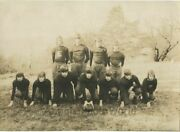 Young Men Football Team On Field In Uniforms Antique Sport Photo