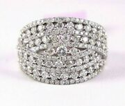 Natural Round Diamond Bypass Cluster Ladyand039s Ring Band 14k White Gold 2.00ct