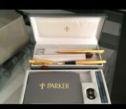 Vintage Authentic 18k Gold Plated Parker 2-pen Set Fountain And Ballpoint