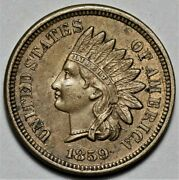 1859 Indian Head Cent - Nice Detail  Us 1c Penny Coin  Lot 920