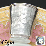 Antique French .800 Nearly Sterling Silver Wine Or Mint Julep Cup, Tumbler