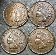 1898 1899 1902 1905 Indian Cent Penny --- Stunning Lot --- D418