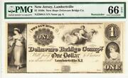 1840and039s 1 The New Hope Delaware Bridge Co. - New Jersey Note Pmg Gem 66 Epq Wow