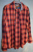 Robert Graham 100 Cotton Shirt Size M Red + Deep Purple Plaid Perfect For Aw