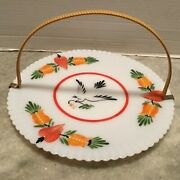 Macbeth Evans Depression Glass Petalware 11 Plate Bird And Tulip With Reed Handle