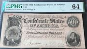 500 1864 Pmg Ms64 Conderate States Of America