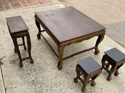 Antique Style Table - 4 Pieces Set - Shapely Bowed Legs - Local Pick Up Only