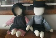 22 New Amish Dolls Set No Face Beautiful Handmade Black Blue Dusty Rose Outfits