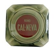 Vintage Ashtray Reno Cal-neva Casino Smoke Grey And Red Immaculate Condition Glass