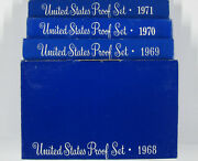 4 Silver Proof Sets One Each 1968 1969 1970 1971 Kennedy Lincoln Jeff Ogp S