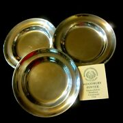 Woodbury Pewter Lot Of Three 6 Danforth Plates--henry Ford Museum