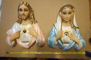 2 Vintage 1957 Michigan Composition Lamp Chalkware Mich Sacred Heart Jesus Mary