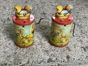Vtg Dgm Germany Clucking Hen Tin Litho Toy Works Rare Pair Htf Ships Fast Today