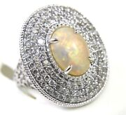 Natural Oval Opal And Diamond Halo Solitaire Ladyand039s Ring 14k White Gold 5.18ct