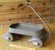 """Antique Hy-speed Pull Wagon Vintage 23"""" Child's Toy Steel Vintage Airflow Scamp"""
