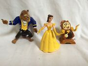 """Walt Disney's """"beauty And The Beast"""" Belle, Beast And Cogsworth Figurines"""