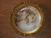 Gorgeous Limoges Hand Painted Roses Framed Plaque Charger Marked J.p.l. France
