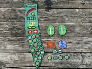 Vintage 1970s Girl Scout Sash With 47 Merit Badges, Pins, Other Patches