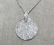 Natural Round Diamond Cluster Necklace Pendant 18k White Gold 1.64ct