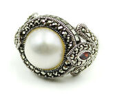 Big Freshwater Pearl Garnet And Marcasite Stones Sterling 925 Ring Size 8