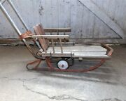 Vintage Childs Stroller / Snow Sled With Runners Wheels And Push Handle Cute