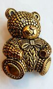 Vintage Teddy Bear Brooch Pin Embellished Detailing Collectible Costume Jewelry