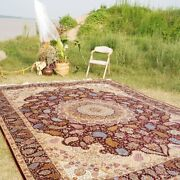 Yilong 9.5and039x12.8and039 Huge Oriental Silk Rugs Eady To Clean Carpets Handmade L16a