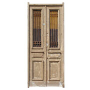 """Antique Pair Of 40"""" French Colonial Doors With Iron Inserts, Ned1215"""