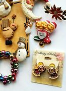 Lot Of Vintage Christmas Jewelry Brooch Earrings Pins Costume Kitschy Christmas