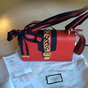 Sylvie Leather Chain-embellished Shoulder Bag W/copy Of The Receipt