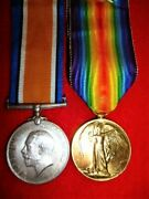 Ww1 Bi-lingual Victory Medal Pair To South African S.a.h.a. - Sergeant Akers