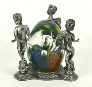 Murano Style Art Glass Surrounded By Pewter Cherub Angels 4 X 4 Bullicante