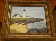 Antique Gold Frame Original Painting By John W. Evanand039s Portland Head Lighthouse