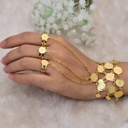 Copper Geometric Shape Gold Coin Link Chain Rings Middle East Bracelet For Women