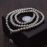 Buddhist 108 Beads 999 Pure Silver Mantra Rosary Mala Necklace