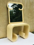 Rare Vintage Karl Springer Style Console Table And Mirror Waterfall Scroll