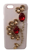 Dolce And Gabbana Phone Case Cover White Leather Crystals Studs Iphone 6 Rrp 700