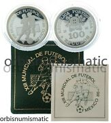 1986 Portugal 100 Escudos Silver Proof World Cup Football Soccer Fifa Mexicoand03986