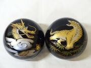 Go Bowls Dragon And Tiger, Chinkin-carved Lacquer Ware, For Go Stones Japan Igo