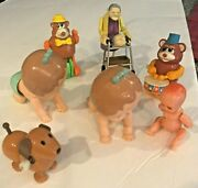 Incredible Lot Of Vtg 1977 Tomy Hard Plastic Wind Up Crawling Baby And Other Toys