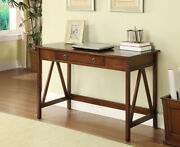 Rustic Antique Style Writing Desk Office Home Furniture Drawer Wood Metal Knobs
