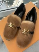 Sold Out Louis Vuitton Fur Loafer Black Leather Flats As Seen On Cardi B 36 /6