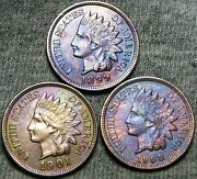 1899 1901 1908 Indian Cent Penny ---- Stunning Lot ---- D808