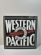 Western Pacific Feather Rivet Route - Plate Enamelled Train U.s.a Railroad