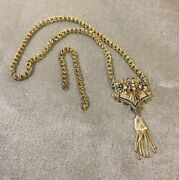 Antique Victorian 14k Gold Enamel And Seed Pearl Necklace 14 W/additional Chain