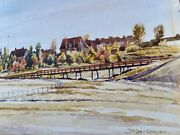 """J.h. Lee Grayson Signed Painting """"the Barracks"""" Royal Canadian Mounted Police"""