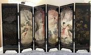 6-panel Vintage Antique Chinese Style Table Top Screen Divider Wood Folding Gift