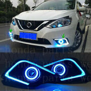 2 Pieces Led Fog Lights(drl)with Angle Eye Lens For Nissan Sentra 2016-2019