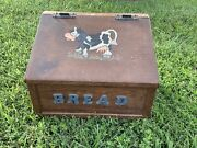 Vintage Primitive Amish Country Holstein Cow And Udder Wooden Bread Box ❤️sj8m